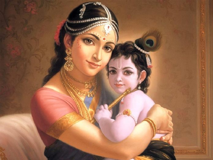 Krishna with Mother Yasodha - Lord Krishna Leelas: The Birth of Krishna