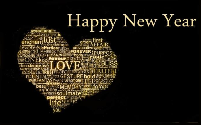Happy new year wishes heart love