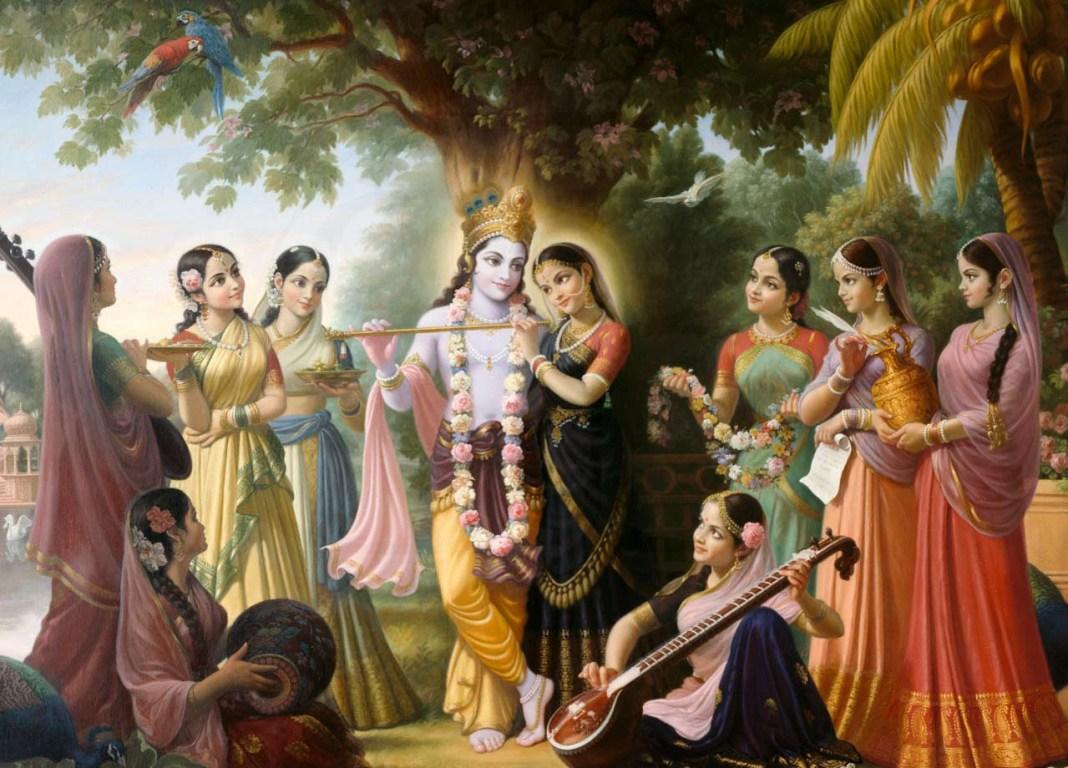 Radha, Gopis and Krishna Painting