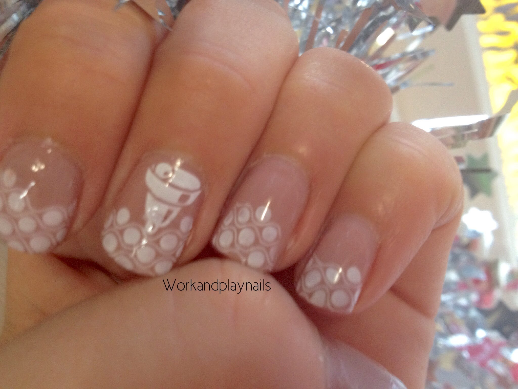 Christmas Snowflakes With A Bell Nail Sting Tutorial Work And Play Nails