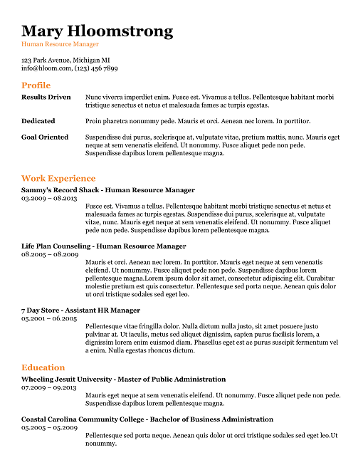 all the information google docs resume template