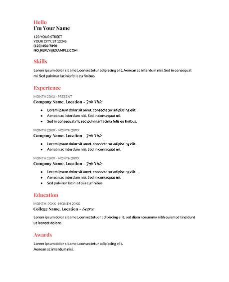 Coral-Google-Docs-Resume-Template