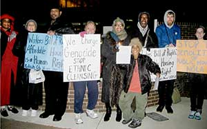 Vigil in front of City Hall in Raleigh, N.C.,<br>Dec. 21 in solidarity with housing struggle<br>in New Orleans.