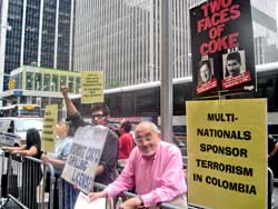 In New York July 22, one of many solidarity actions with People's Tribunal in Colombia.