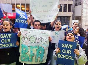 Students walk out at Brook Farm Academy in<br>Boston Dec. 13 to protest plans to close school.