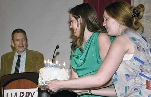 Ramsey Clark and granddaughters Taylor and Paige Clark.