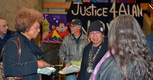Angela Davis (left) at Justice for Alan Blueford rally.Photo: Daniel Arauz