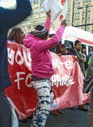 Community blocks traffic to protest school privatization in Philadelphia, Feb. 21.WW photo: Betsey Piette