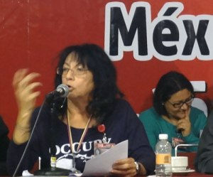 WW's Berta Joubert-Ceci, right, makes her contribution to the Seminar on Parties and the New Society in Mexico City.