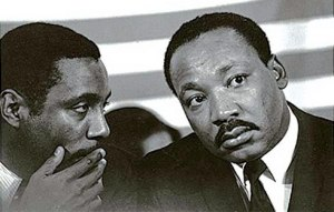 Dick Gregory and Dr. Martin Luther King, Jr. at Chicago meeting in October, 1967.