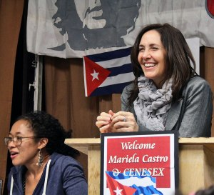 Mariela Castro Espín, April 25. Seated is LeiLani Dowell.WW photo: Brenda Ryan