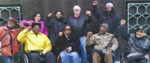Supporters gather outside courthouse on April 4 for S. Baxter Jones (front, second from right).WW photo: Abayomi Azikiwe