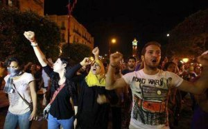 Protest after Mohamed Brahmi's assassination on July 25 in Tunisia.