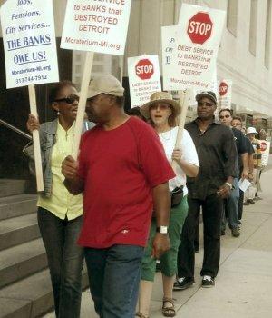 Detroit protest outside bankruptcy court, Aug. 2.WW photo: Kris Hamel