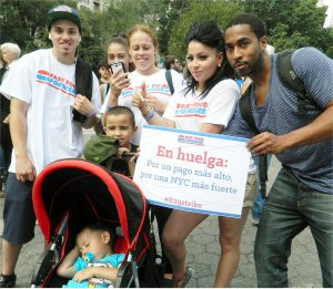 Domino's workers in New York make strike a family affair.WW photo: Anne Pruden