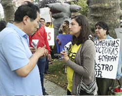 A NICE organizer confronts the boss.WW photo: Anne Pruden