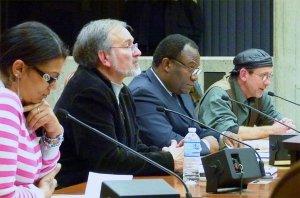 Boston school bus drivers testify against Veolia's violations at Nov. 21 city council meeting.WW photo: Joseph Piette