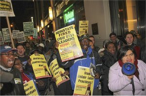 Conference marches to NYC Veolia office to support Boston school bus union.WW photo: Brenda Ryan