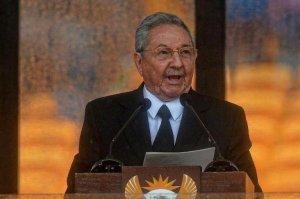 President Raúl Castro at the Mandela memorial in Johannesburg, Dec. 10.