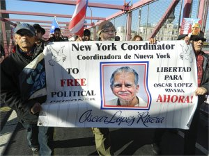 More than 200 people marched across New York City's Williamsburg Bridge Nov. 23 to demand freedom for Puerto Rican political prisoner, Oscar López Rivera. The 70-year old Rivera has already spent 32 years in federal prison, five years longer than Nelson Mandela's time in apartheid jails. The Community Coalition for the freedom of Oscar López Rivera organized the march that coincided with a march of 50,000 in San Juan, Puerto Rico. Among the speakers at the concluding rally were representatives of the Sundiata Acoli Freedom Campaign, Malcolm X Grassroots Movement, newly-elected Councilperson Antonio Reynoso and René Pérez Joglar from Calle 13 who called for the independence of Puerto Rico. — Stephen Millies
