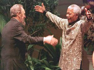 Nelson Mandela and Fidel Castro meet in Durban in 1998 for Non-Aligned Movement Summit.