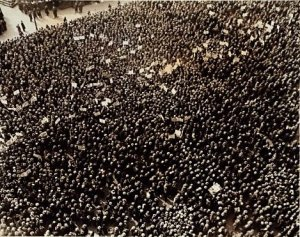 Union Square, 1934, some 60,000 communists gather in New York City to protest unemployment and capitalism.