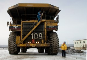 Equipment at oil sands mine in Alberta, Canada.