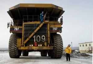 Equipment at oil sands mine in Alberta, Canada.