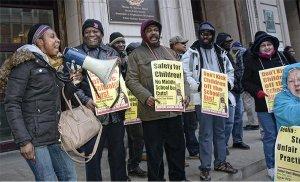 Outside the Boston School Committee.WW photo: Liz Green