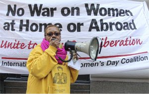 Monica Moorehead speaking on International Women's Day in New York.WW photo: Monica Moorehead