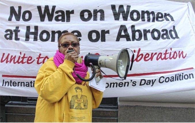 Monica Moorehead speaking on International Women's Day in New York.