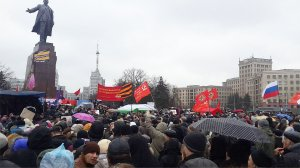 Mass protest in Kharkov demands release of imprisoned anti-fascists, April 13.Photo: Borotba