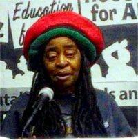 Rakiba Brown at International Women's Day speakout, March 8.WW photo: Tom Michalak
