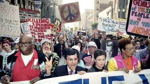 Casey Kasem in 1991 Coalition to Stop U.S. Intervention in the Middle East protest.