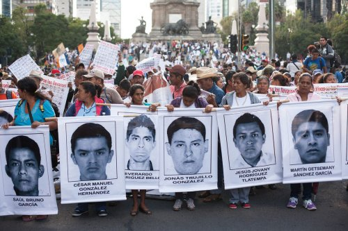Relatives of missing protest in Mexico City.Photo: Boreal Collective