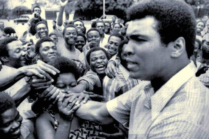 Muhammed Ali in Kinshasa, Zaire (Congo) in 1974.