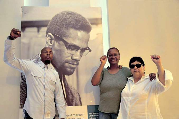 Teresa Gutierrez with 2016 WWP Presidential Candidate Monica Moorehead and Vice Presidential Candidate Lamont Lilly at the Malcolm X and Dr. Betty Shabazz Center, the Audubon Ballroom, New York City.