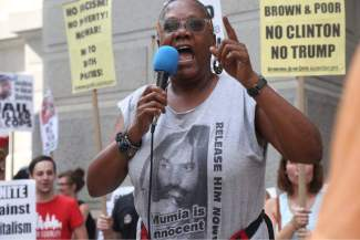WWP presidential candidate Monica Moorehead speaks at Philadelphia march against the DNC.