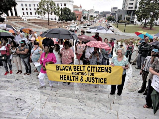 Black Belt Citizens from Perry County, Ala., march at Moral Monday, in Montgomery, Sept 22, 2014.