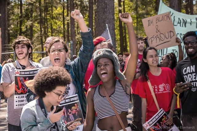 Youths from Tallahassee, Fla., SDS confront KKK at Stone Mountain, Ga.Photo: Steve Eberhardt