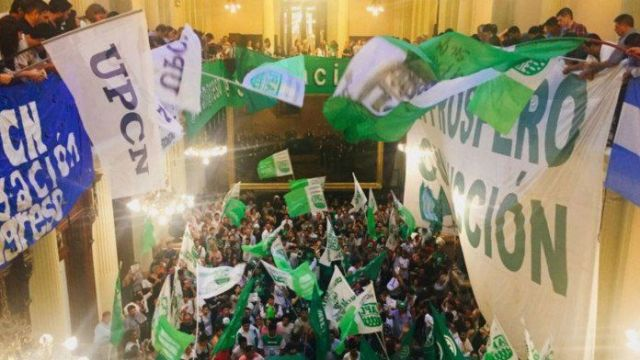 Senate workers protest imminent layoffs in Buenos Aires.