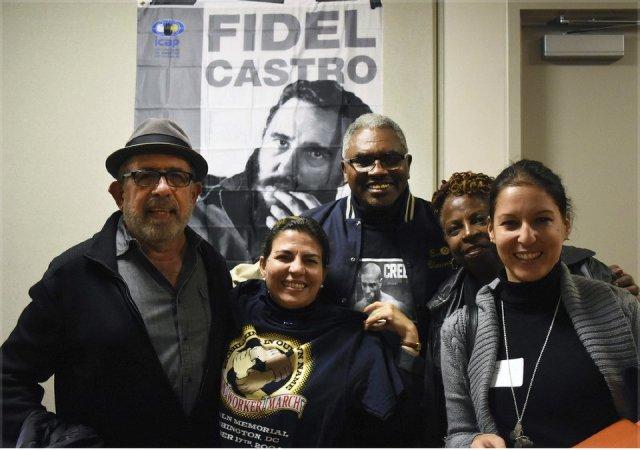 From left: Prof. Felix Kury, Kenia Serrano, Clarence Thomas, Delores Lemon-Thomas, Leima Martinez at Richmond, Calif. meeting, Nov. 13.Photo: Bill Hackwell