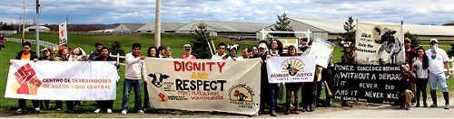 Dairy workers and supporters gather in Lowville, N.Y. for May Day protest.Photo: Workers Center of Central New York