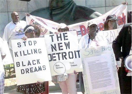 Protesters outside Detroit's city hall, July 21.