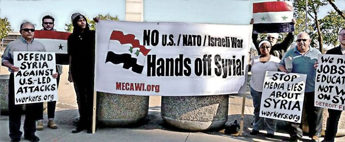 Some of the 'NO to U.S. intervention in Syria' protesters, May 6.