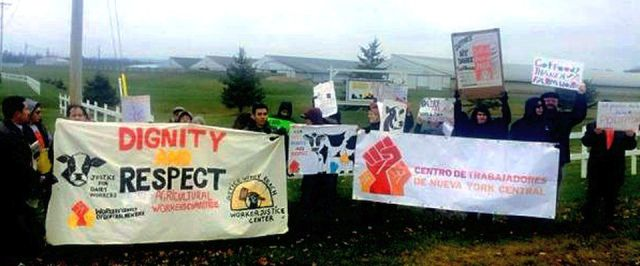 Migrant dairy workers march against workplace abuse.Photo: Vani Kannan