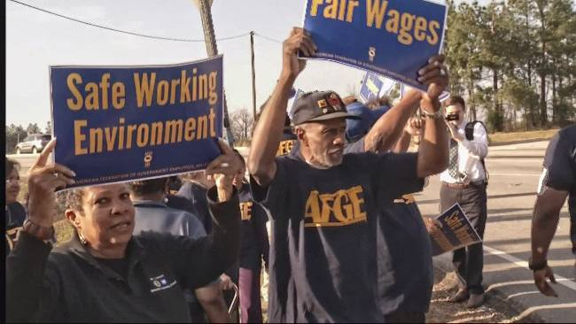 AFGE members protest unsafe working conditions at Fort Gordon, Ga., in March.
