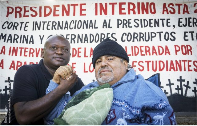 Leobardo Santillan, right, with supporter Brother Vincent.Photo: Ernesto Leon