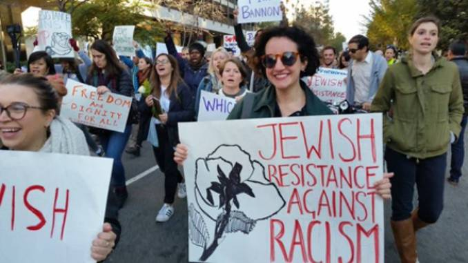 If Not Now, an anti-occupation Jewish group, marches on Trump transition headquarters in Washington, D.C., to protest anti-Semitism.