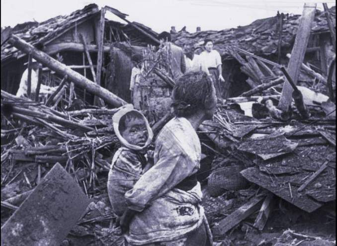 Pyongyang, north Korea, after an air raid by U.S. planes in 1950.